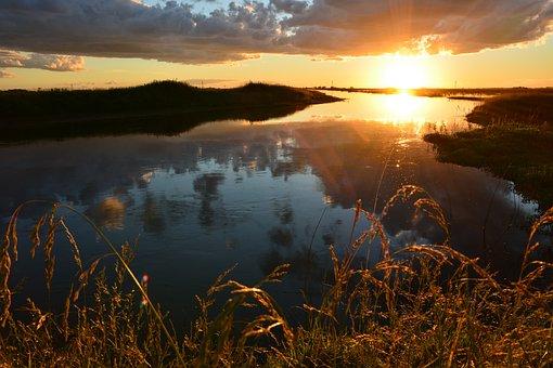 Sunset, Brook, Natural Landscape, Landscape, Sun