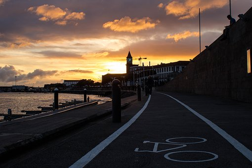 Sunset, Eventide, Twilight, Marina, Bike Path, Boat