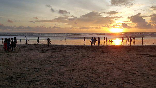 Sunset At Kuta Beach Bali, Indonesia, Sunset, Vacation
