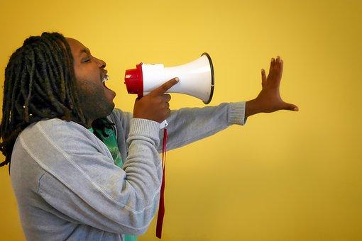 Call, Afro, Megaphone, Scream, Symbol, Barker, Sound