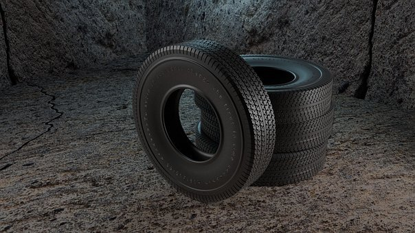 Tires, Concrete Floor, Car Service, 3d