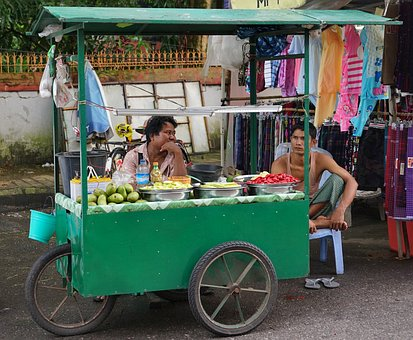 Street, Food, Seller, Yangon, Rangoon, Burma, Myanmar