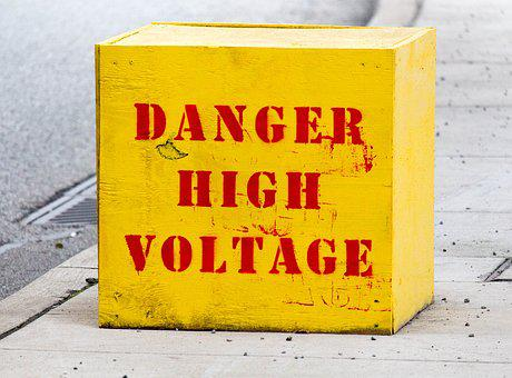 Danger, High, Voltage, Yellow, Box