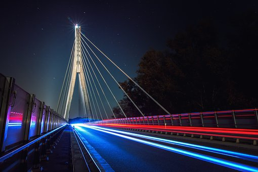 Bridge, Night, Architecture, Lighting, Long Exposure