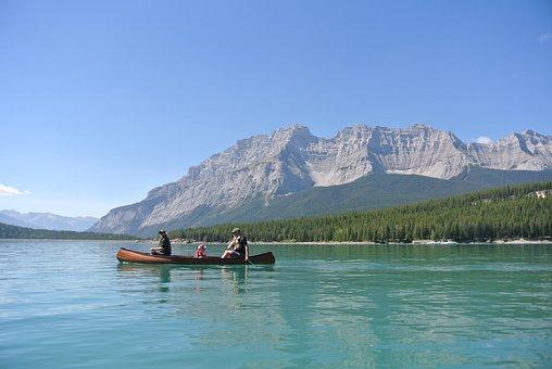 Banff, Canoe, Lake, Mountains, Camping, Holiday, Canada