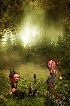 Children, Friends, Girl, Boy, Forest, Mice, Bird