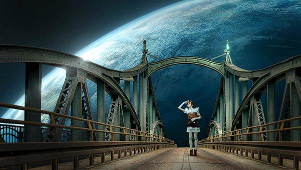 Fantasy, Bridge, Planet, Woman, Surreal, Composing