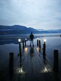 Boardwalk, Deck, Lake, Volcanoes, Man, Pensive, Water