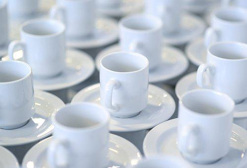Coffee, Cups, Stacked, White, Porcelain, Cup Of Coffee