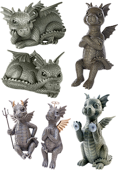 Stone Figures, Dragons, Isolated, Stone Figure