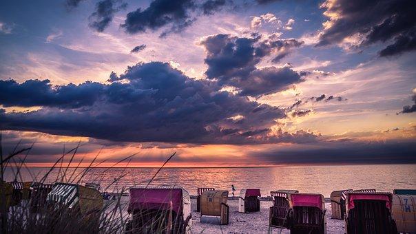 Stran, Beach Chair, Holiday, Sunset, Summer, Clubs