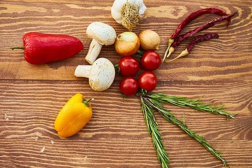 Vegetables, Pepper, Mushroom, Tomato, Garlic, Onion