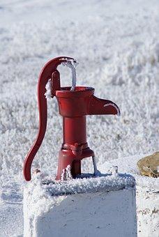 Pump, Frost, Winter, Water, Antique