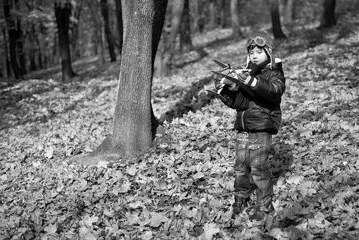 Boy, Autumn, Park, Photo, Leaves, Forest