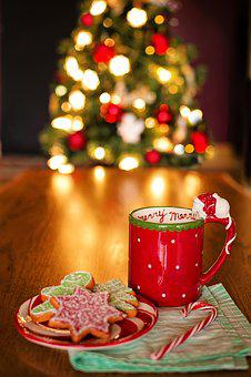 Christmas, Still Life, Tree, Hot Chocolate, Hot Cocoa
