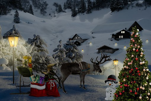 Christmas, Santa Claus, Coach, Reindeer, Christmas Tree