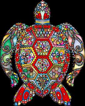 Sea Turtle, Floral, Flowers, Decorative, Ornamental