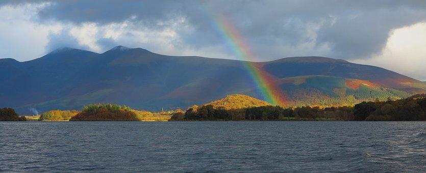 Rainbow, Derwent, Water, Lake, Cumbria, Scenery, Trees