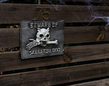 Halloween, Skull, Bones, Beware, Holiday, Occasion