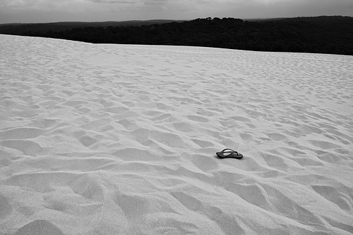 Lost, Shoe, In The Sand, Desert, Dune, Dun De Pilat