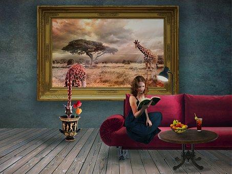 Fantasy, Dreams, Girl, Mood, Room, Giraffe, Image