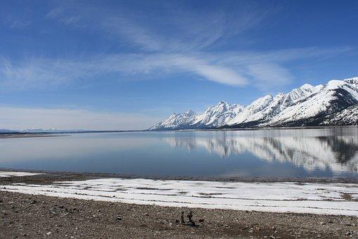 Grand, Teton, National, Park, Mountain, Lake, Sky