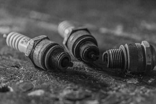 Spark Plugs, Old, Used, Black And White