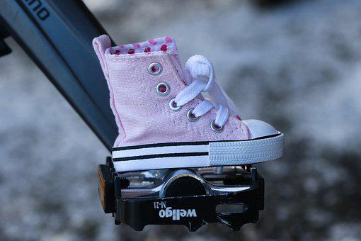 Shoe, Pedal, Cycle, Sneakers, Pink, Miniature