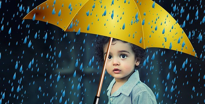 Child, Protection, Umbrella, Rain, Protect, Security