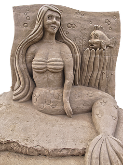 Mermaid, Sand Figure, Sculpture, Sand, Figure, Metal