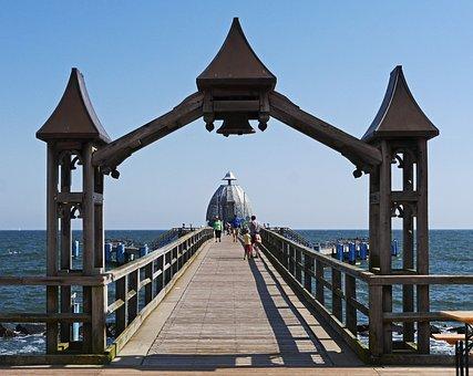 Sellin, Rügen, Sea Bridge, Access, Archway, Bell, Web