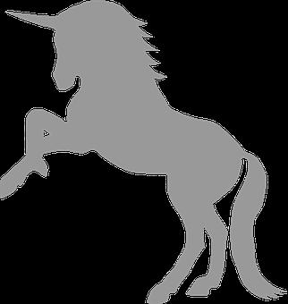 Unicorn, Gray, Myth, Mythological, Creature, Silhouette