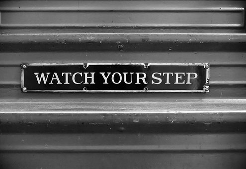 Watch Your Step, Staircase Sign, Black And White