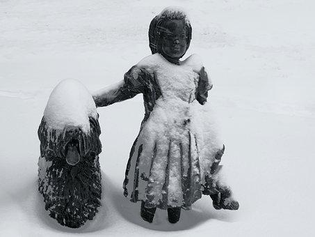 Statue, Bronze, Sculpture, Famous, Tourism, Girl, Dog