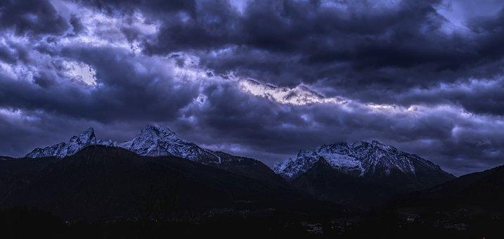 Watzmann, Sunset, Alpine, Berchtesgaden Alps, Mountains