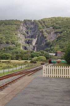 Snowdonia, Wales, Slate, Quarry, Train, Track