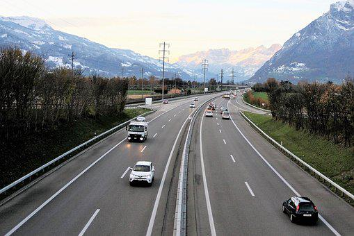 Highway, Speed, Automotive, Vehicles, The Alps, View