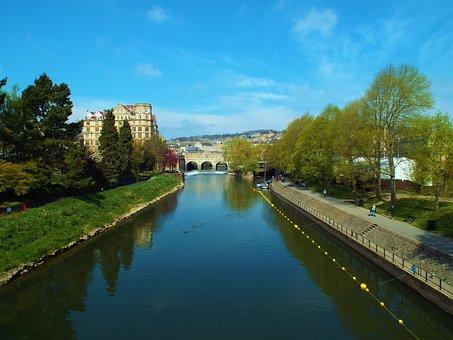 Bath, Bridge, River, Avon, Travel, Uk, Britain