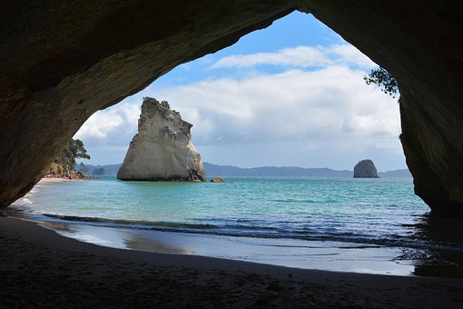 Cathedral Cove, New Zealand, Sea, Ocean, Water, Wave