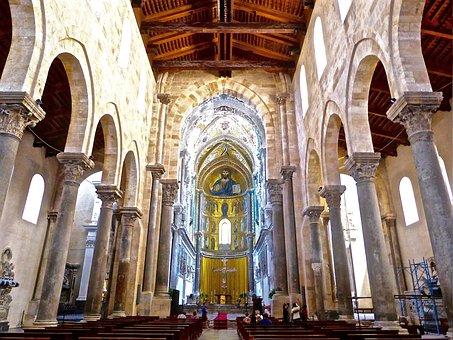 Cefalu, Cathedral, Sicily, Nave, Basilica, Church