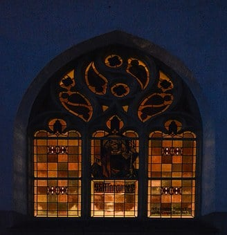 Church Window, Colorful, Evening, Illuminated, Church