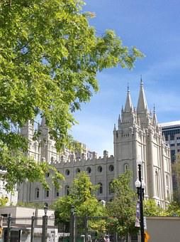 Mormon, Temple, Salt Lake, Tree, Salt, City, Lake