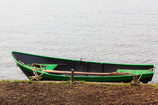 Alone, Bank, Boat, Coast, Empty, Fishing, Green, Lonely