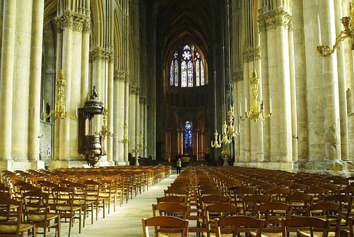 Reims, Cathedral, Nave Pillars, Chair, Light, Columns