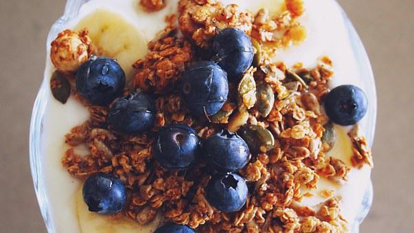 Granola, Breakfast, Blueberries, Yogurt, Diet, Morning