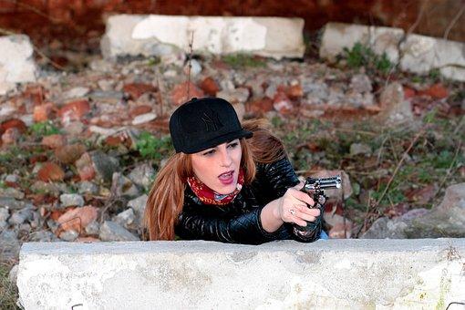 Girl, Pistol, Impuscatura, Gangster, Mission, Sensual