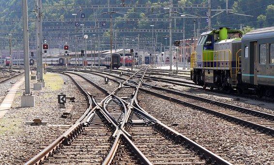 Railway Station, Gleise, Soft Road, Brig, Valais, Sbb