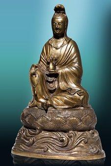 Art, Bronze, Cast, Asia, Guanyin, Guānshiyīn, China