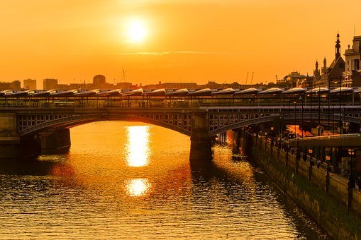 London, Bridge, Sunset, City, England, Building