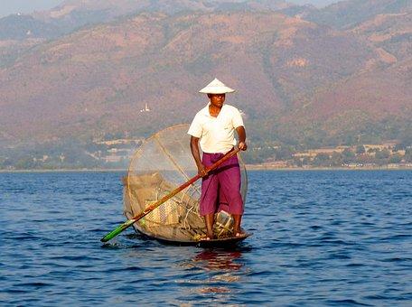 Fisherman, Inle Lake, Burma, Fishing, Net, Paddle